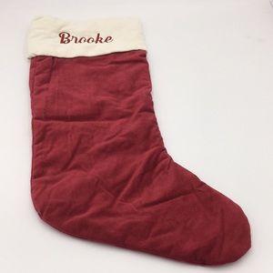 """Pottery Barn Velvet Christmas Stocking """"Brooke"""""""